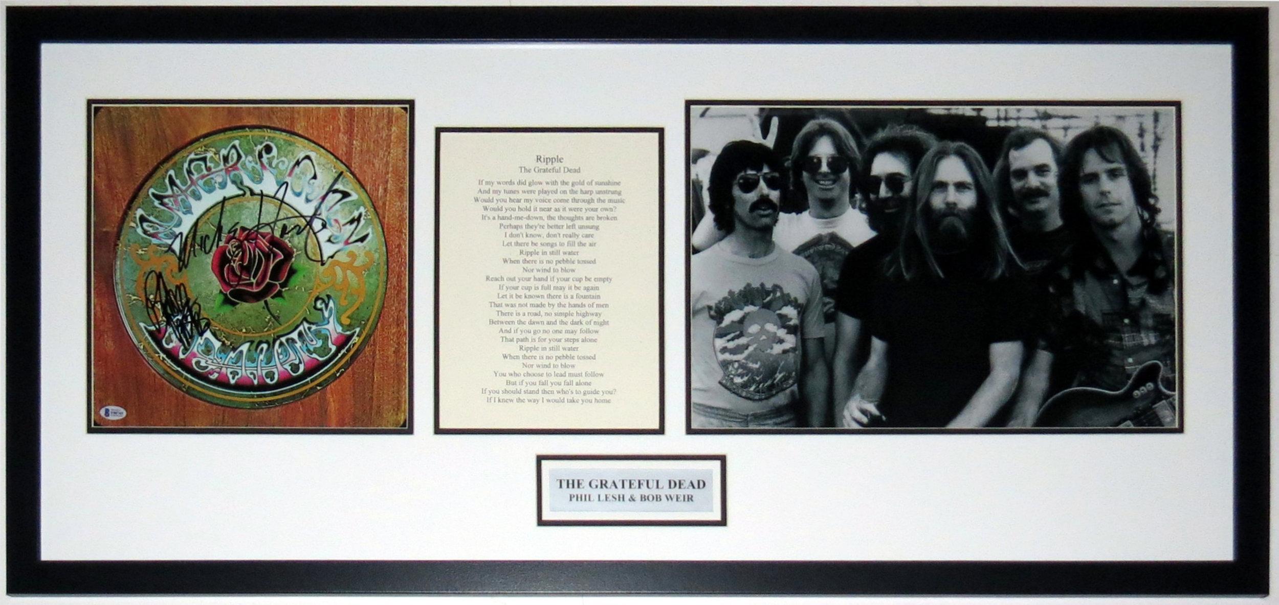 Bob Weir & Mickey Hart Dual Signed The Grateful Dead American Beauty Album - Beckett Authentication Services BAS COA - Professionally Framed & Lyrics & Photo