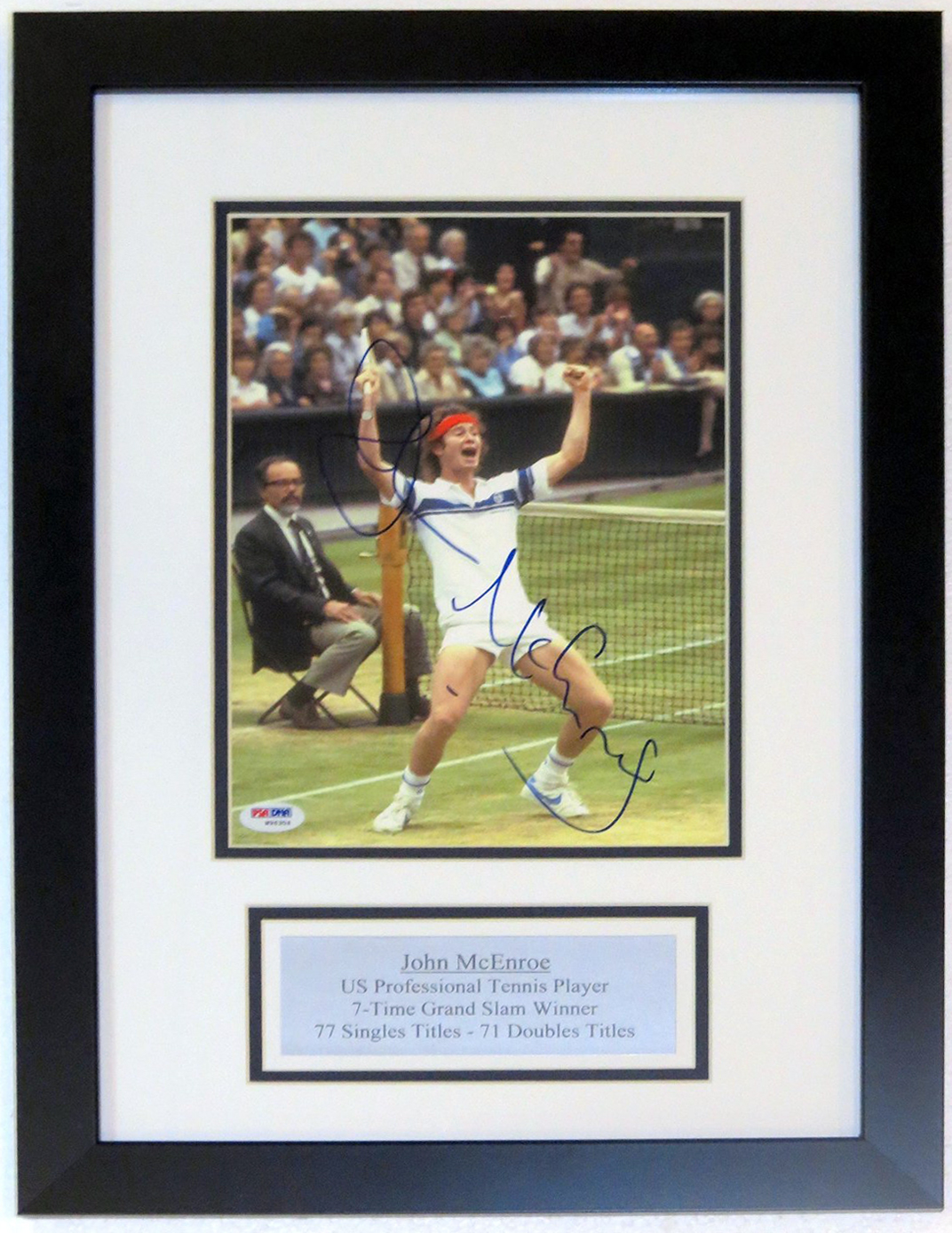 John McEnroe Signed Wimbledon 8x10 Photo - PSA DNA COA Authenticated - Custom Framed & Plate