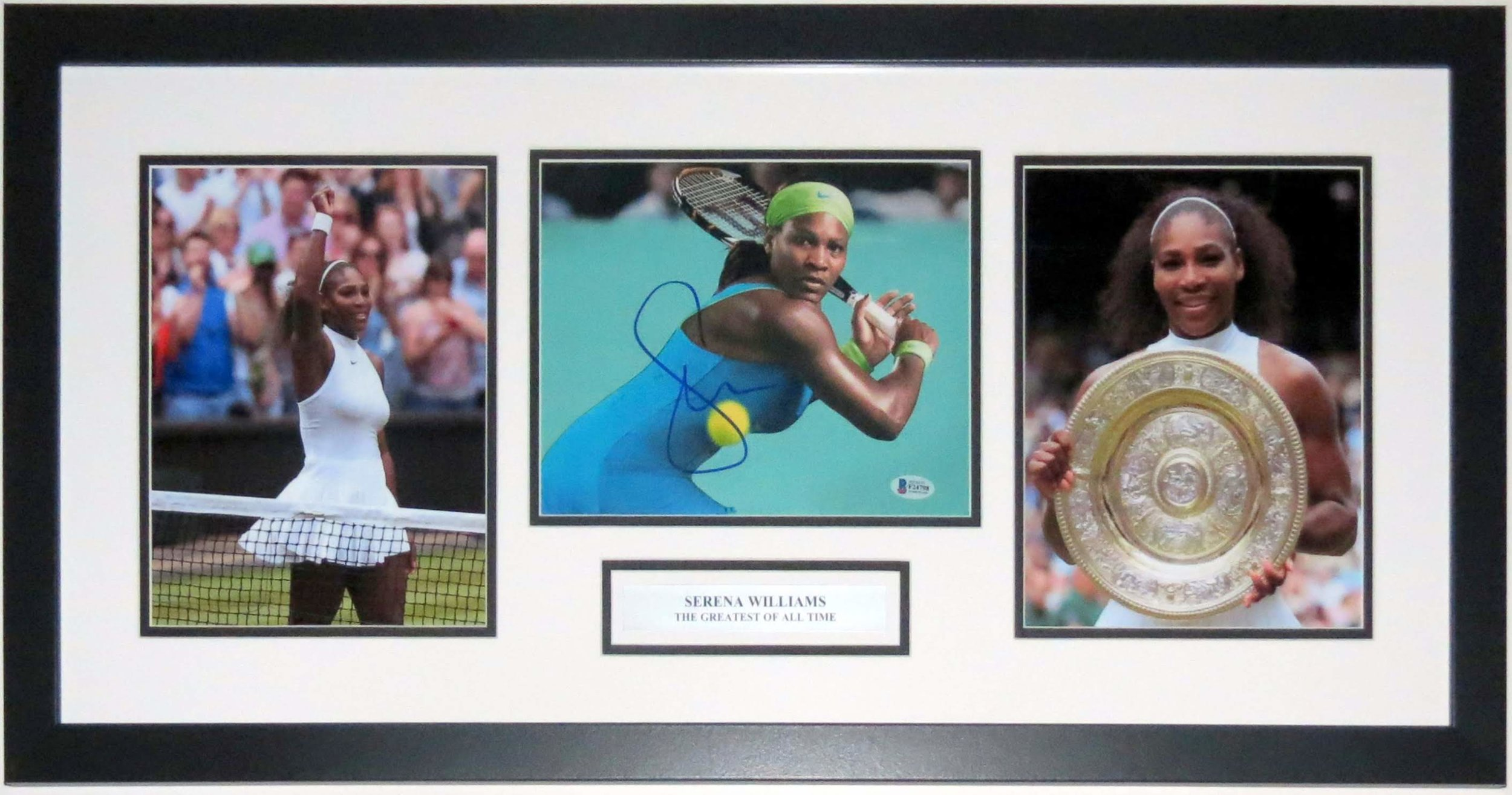 Serena Williams Signed Wimbledon 3 8x10 Photo Set - Beckett Authentication Services COA - Professionally Framed & Plate