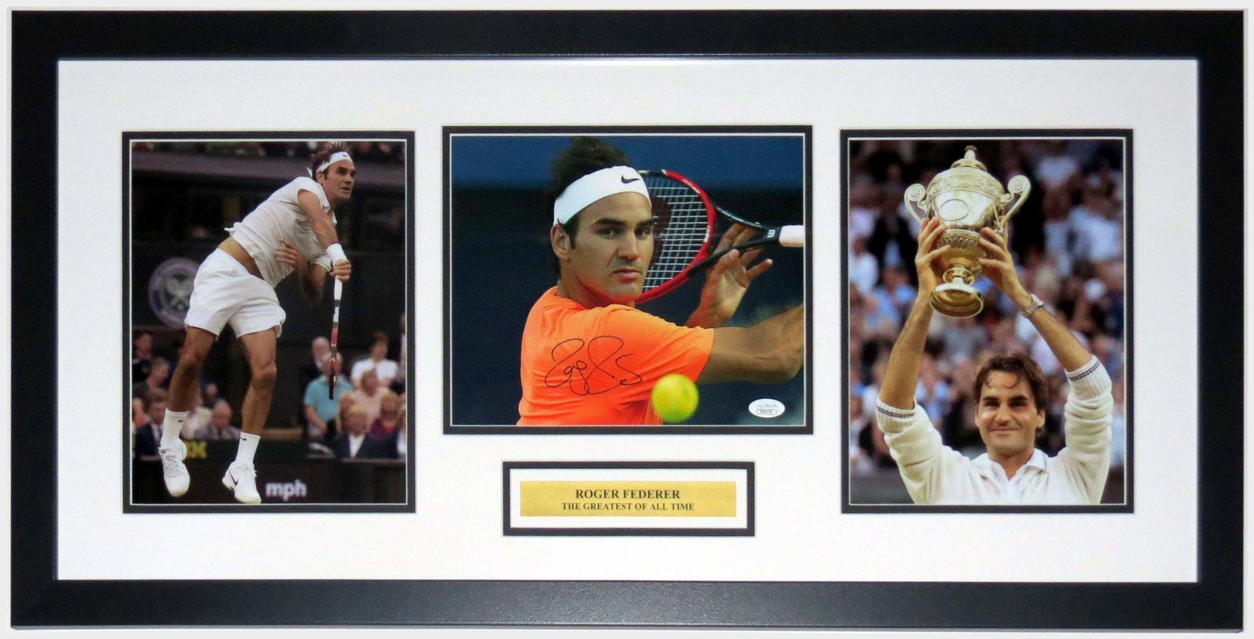 Roger Federer Signed Wimbledon Championship 8x10 Photo - JSA COA Authenticated - Professionally Framed & Plate