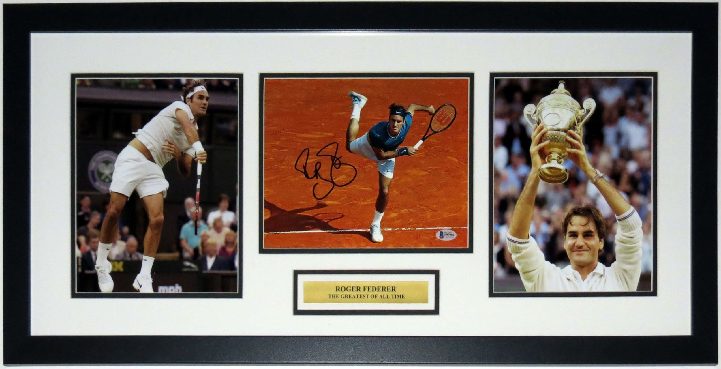 Roger Federer Signed Wimbledon Championship 8x10 Photo - Beckett Authentication Services BAS COA - Professionally Framed & Plate