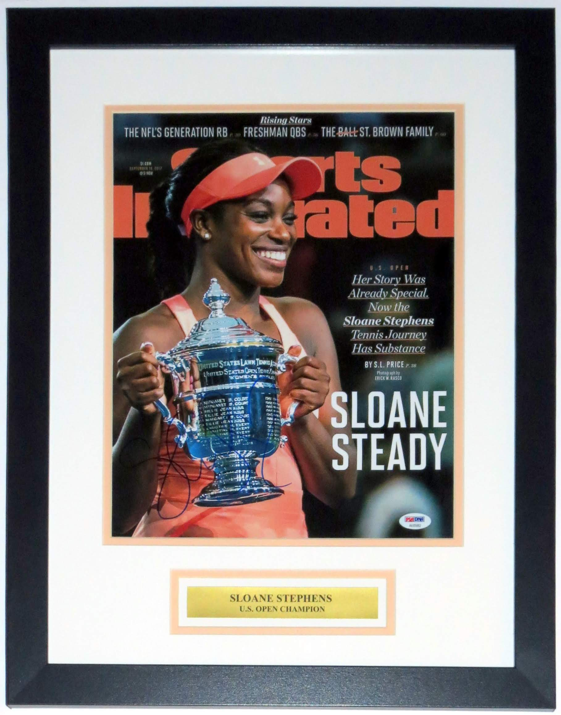 Sloane Stephens Signed US Open Sports Illustrated 11x14 Photo - PSA DNA COA Authenticated - Professionally Framed & Plate