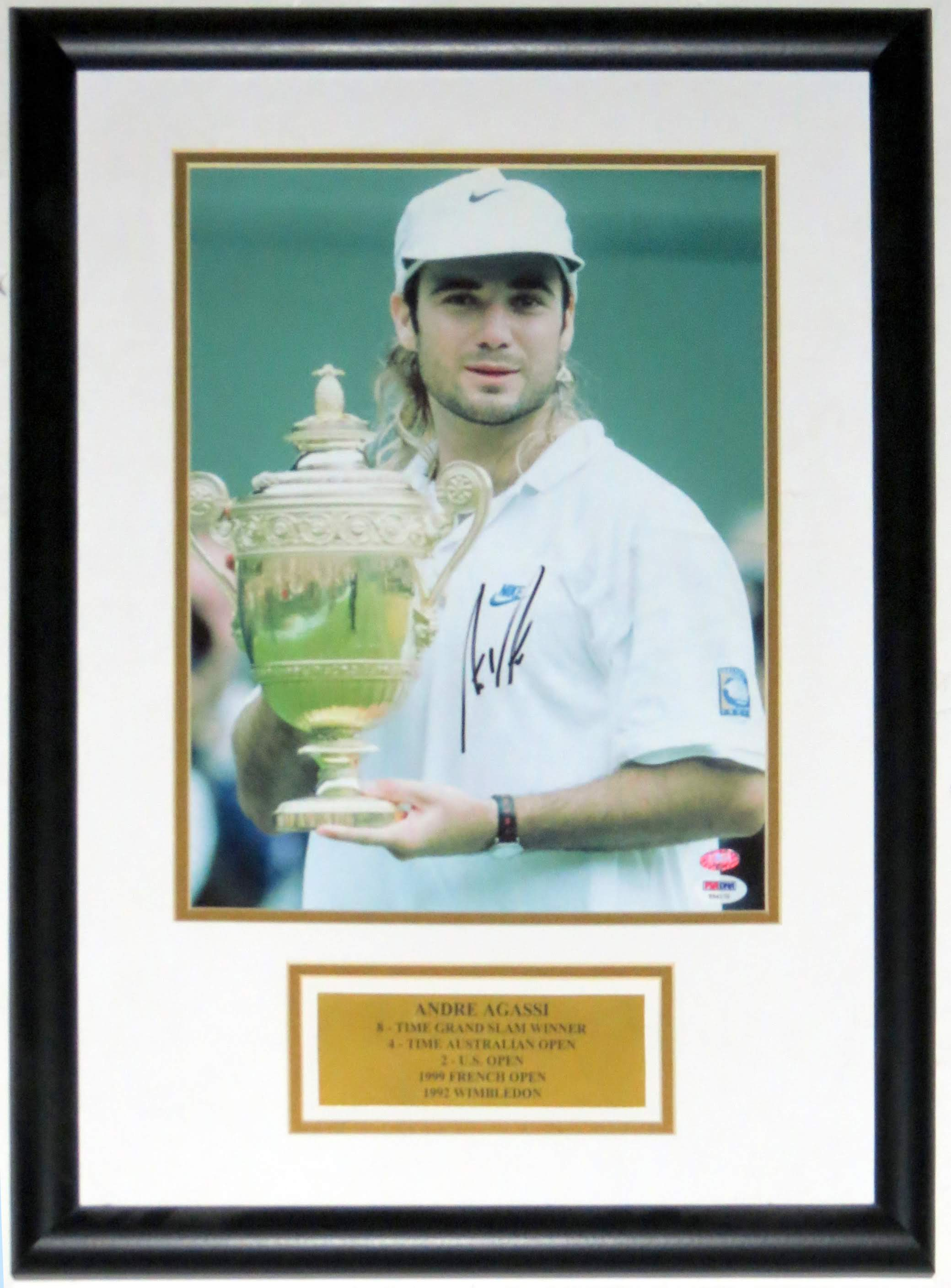 Andre Agassi Signed Wimbledon Championship 11x14 Photo - PSA DNA COA Authenticated - Professionally Framed & Plate