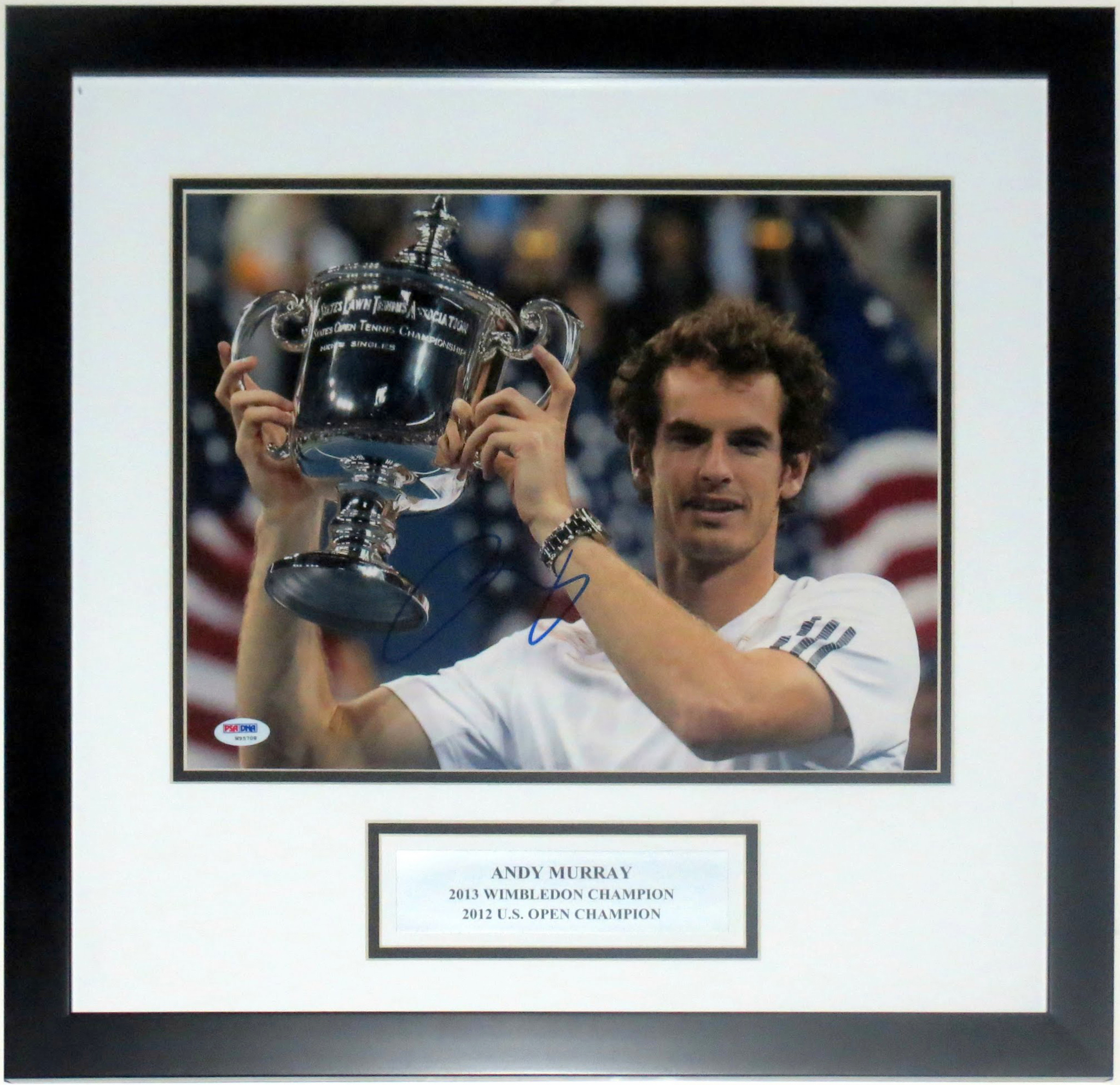 Andy Murray Autographed U.S. Open 11x14 Photo - PSA DNA COA Authenticated - Custom Framed & Plate