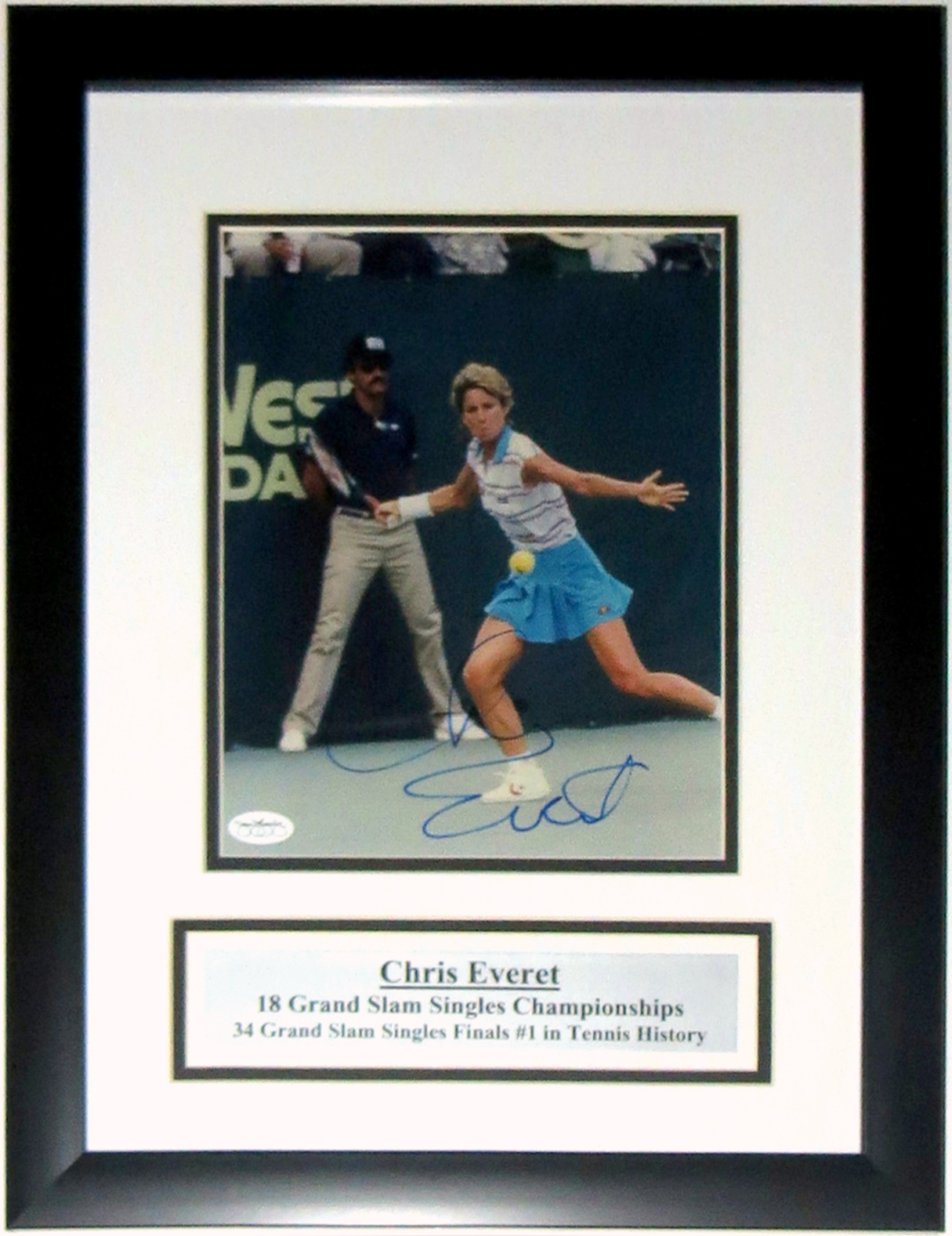 Chris Evert Autographed 8x10 Photo - JSA COA Authenticated - Professionally Framed & Plate