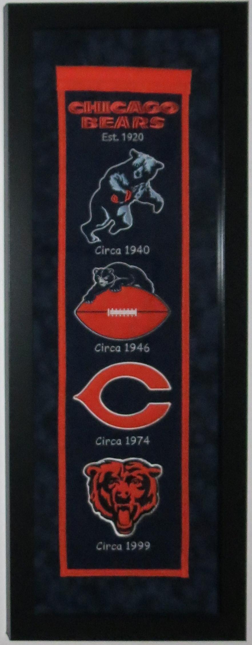 Chicago Bears Heritage Logo Banner Professionally Framed