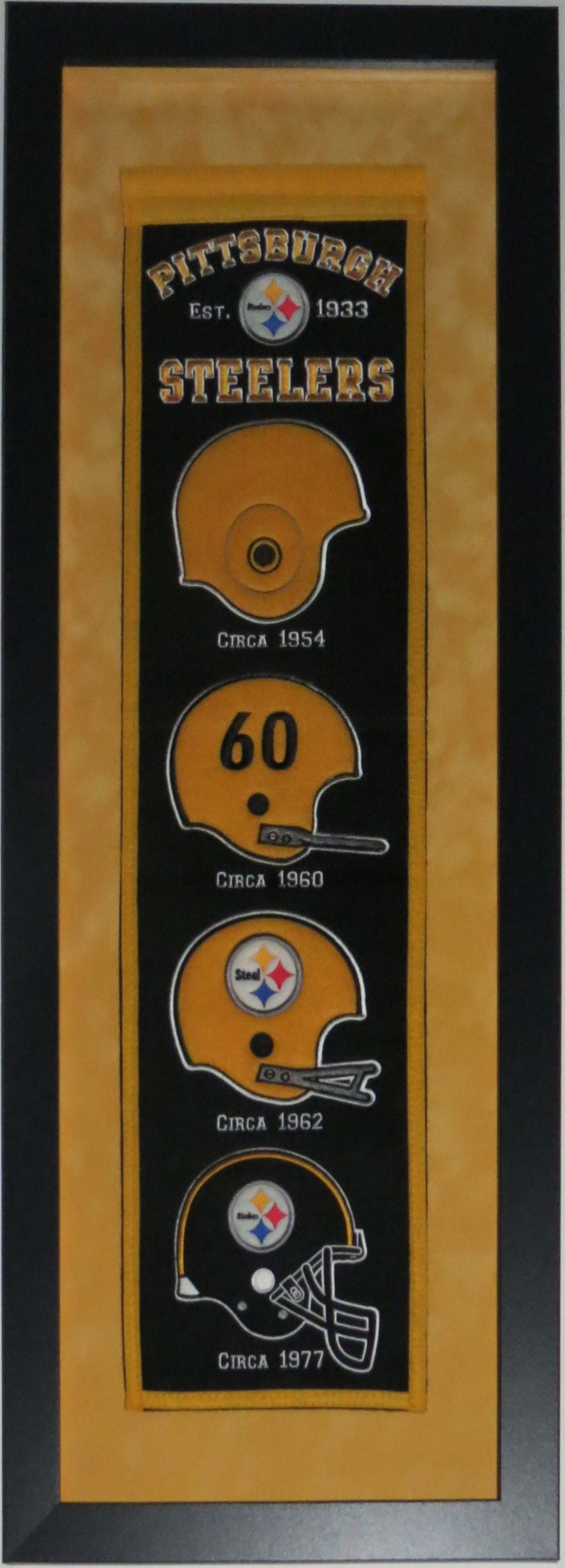 Pittsburgh Steelers Heritage Logo Banner - Professionally Framed