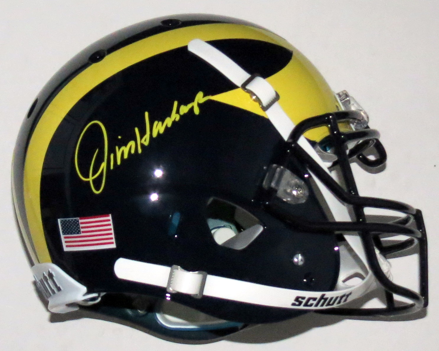Jim Harbaugh Signed Michigan Wolverines Authentic Schutt Full Size Helmet - Fanatics COA Authenticated