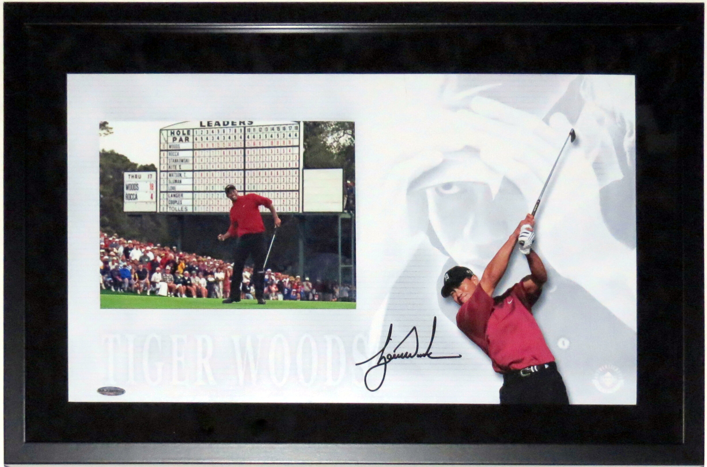 Tiger Woods Autographed 1997 Masters Focus Photo Compilation - Upper DEck Authenticated UDA COA - Professionally Framed Shadowbox