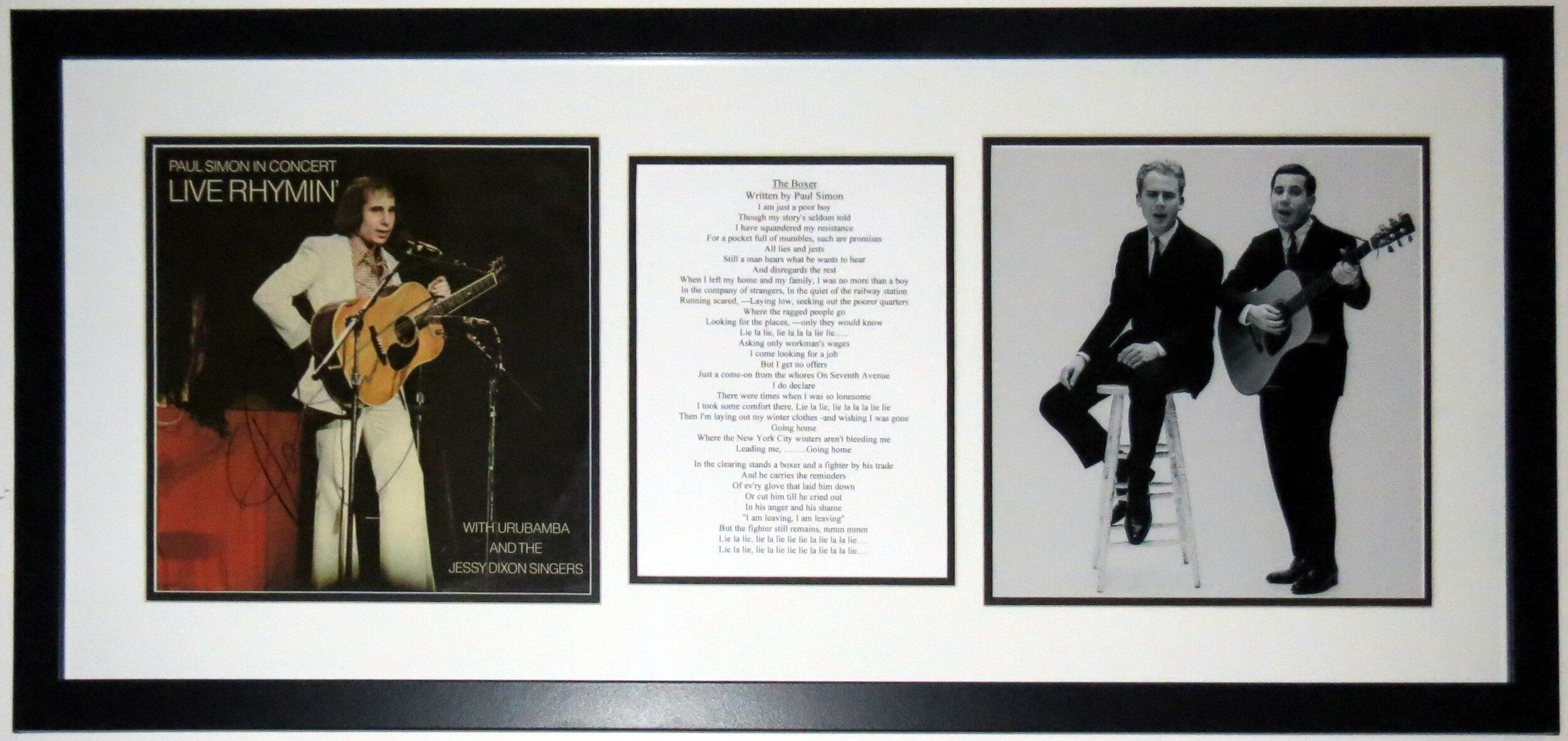 Paul Simon Signed Simon and Garfunkel Album - PSA DNA COA Authenticated - Professionally Framed & Photo & Lyrics 34x16