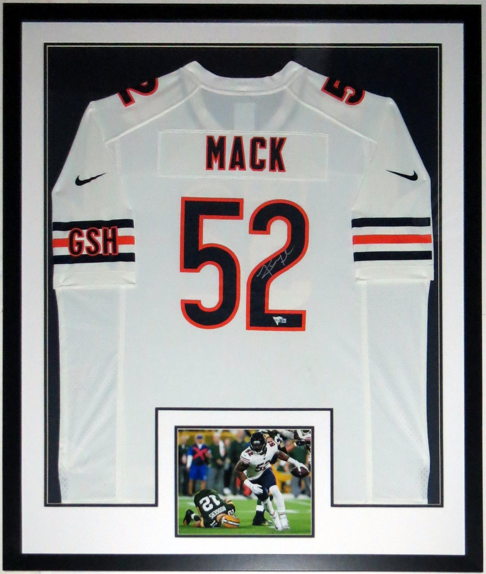 Khalil Mack Signed Nike Chicago Bears Jersey - Fanatics COA Authenticated - Professionally Framed & 1st Game 8x10 Photo 34x42
