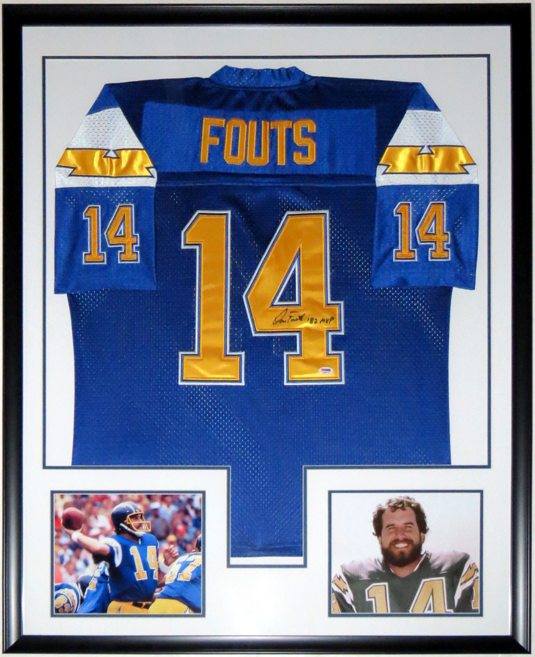 Dan Fouts Signed Chargers Jersey - PSA DNA COA Authenticated- Professionally Framed & 2 8x10 Photo