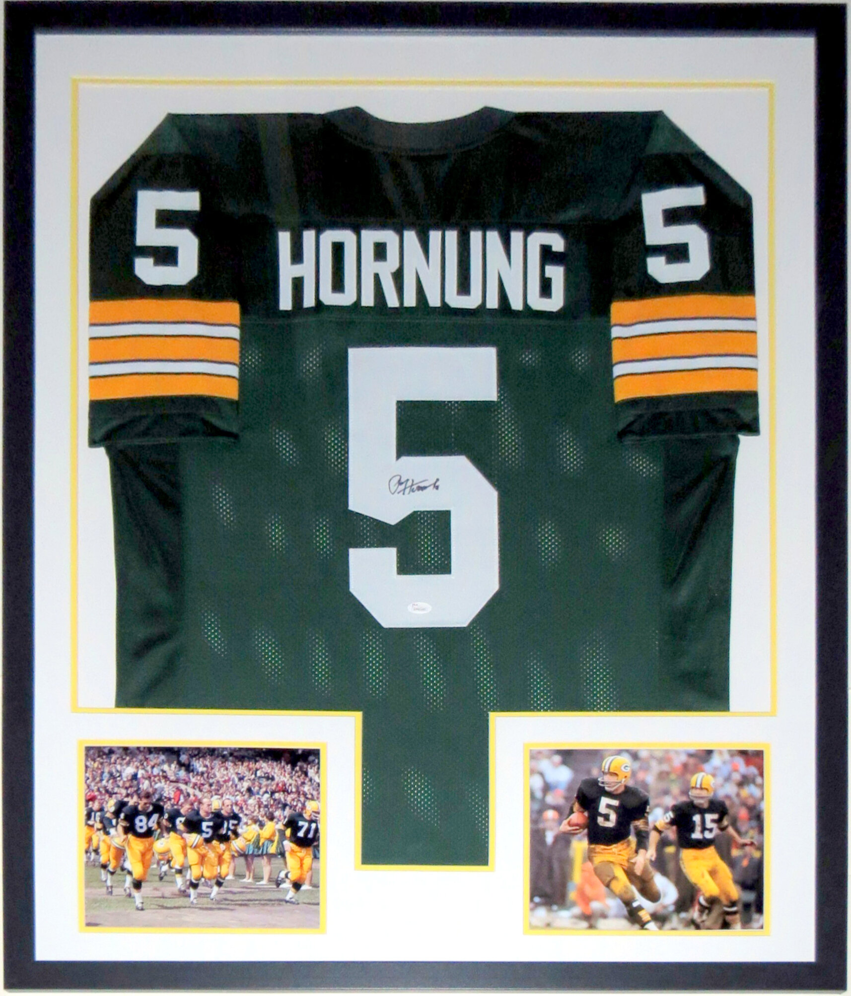 Paul Hornung Signed Green Bay Packers Jersey - JSA COA Authenticated - Professionally Framed 2 8x10 Photo 34x42