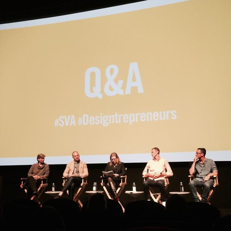 Q&A with panelists. From left to right: Mary Taylor, founder, Salt & Olive ; Ben Watson, Executive Creative Director,  Herman Miller ; Debbie Millman ,Chair,  SVA Masters in Branding ;  Ryan Fitzgibbon ,Founder and Publisher,  Hello Mr. ; Thomas Page McBee , writer,   Man Alive  .