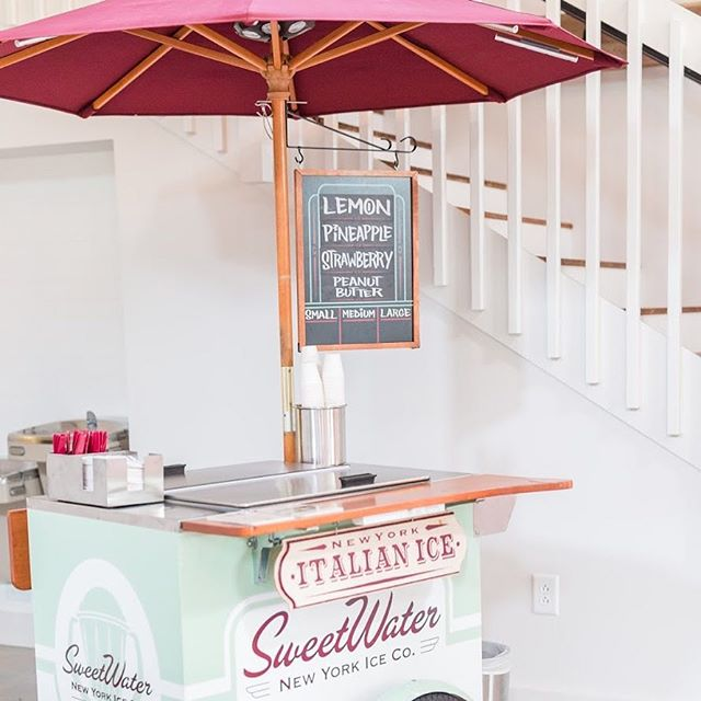 Nothing says summertime like a cold treat! It's a hot first day of July here in NC and @sweetwaterices sure would be delicious! 🍦⛱ Image by @traci_huffman, Venue & Florals: @barnofchapelhill, Specialty Rental: @cottageluxe, Planning & Design: @tailoredoccasions #barnofchapelhill #sweetwaterices
