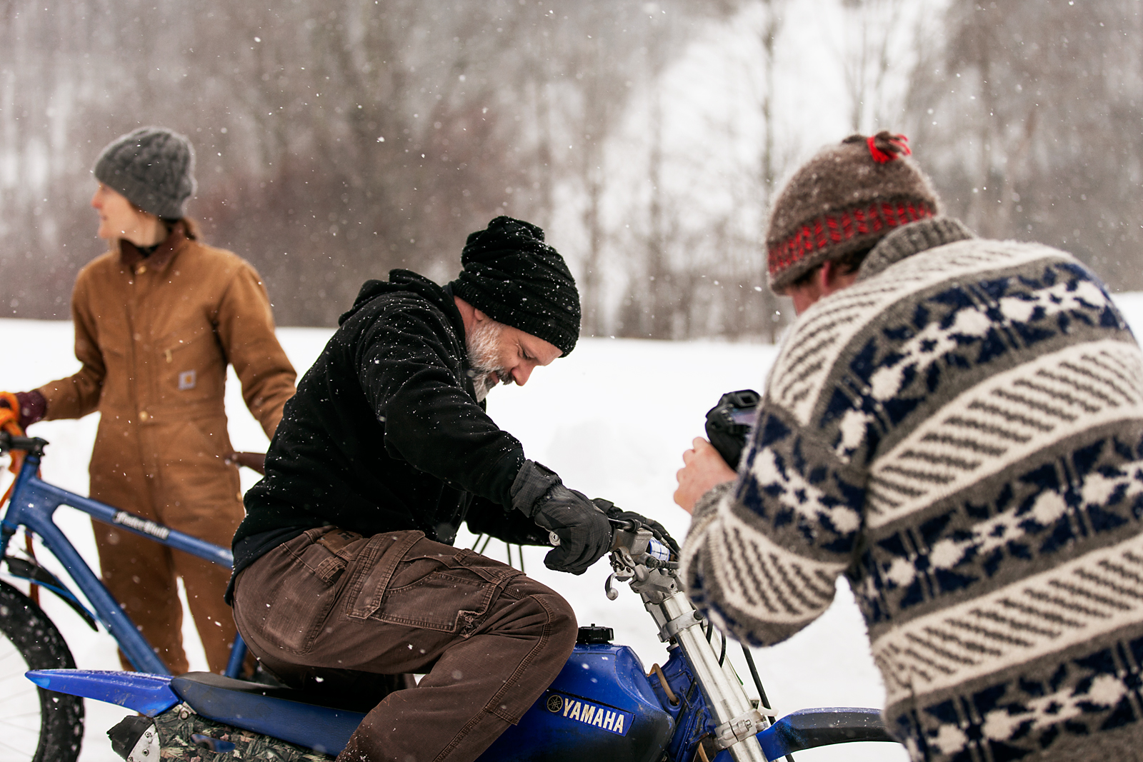 Motorcycles, Woods, Snow