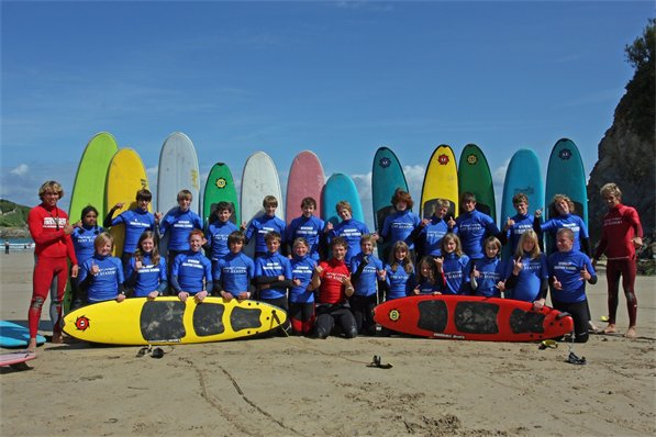 Surfing Lessons On A  Newquay School Trip