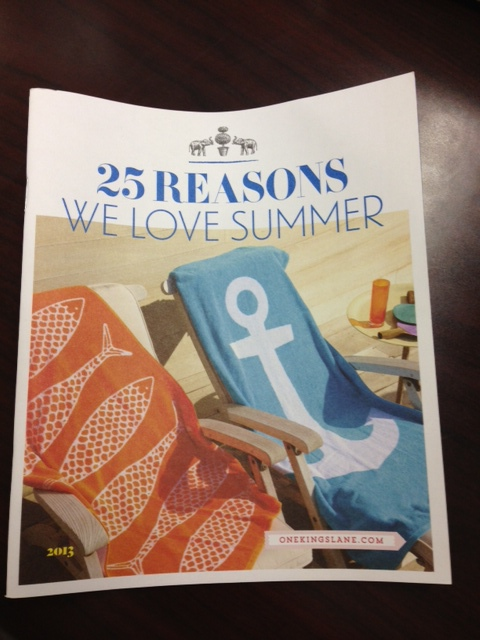 Fun, branded book from One Kings Lane reminds us of everything we love about summer. You smile, you think of loving memories, and look at the One Kings Lane logo, creating positive associations.