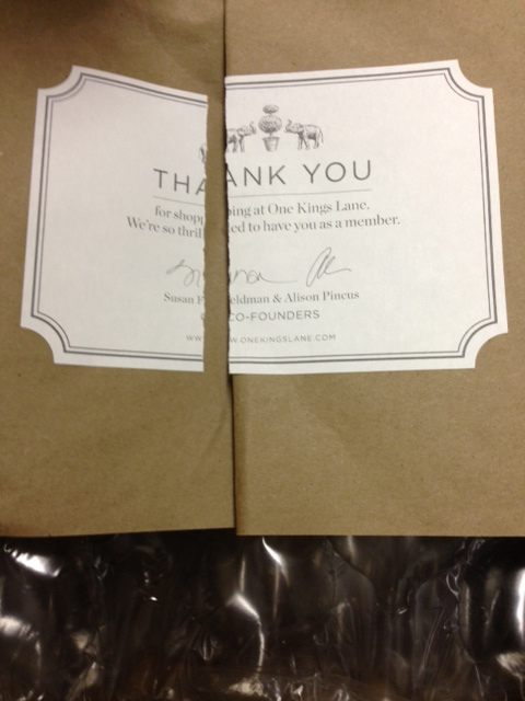"""When you open a package from One Kings Lane, you first need to cut through a """"THANK YOU"""" from its founders. Nicely done, guys."""