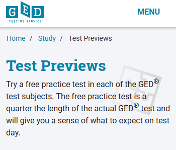 Free, 10 question preview for each subject