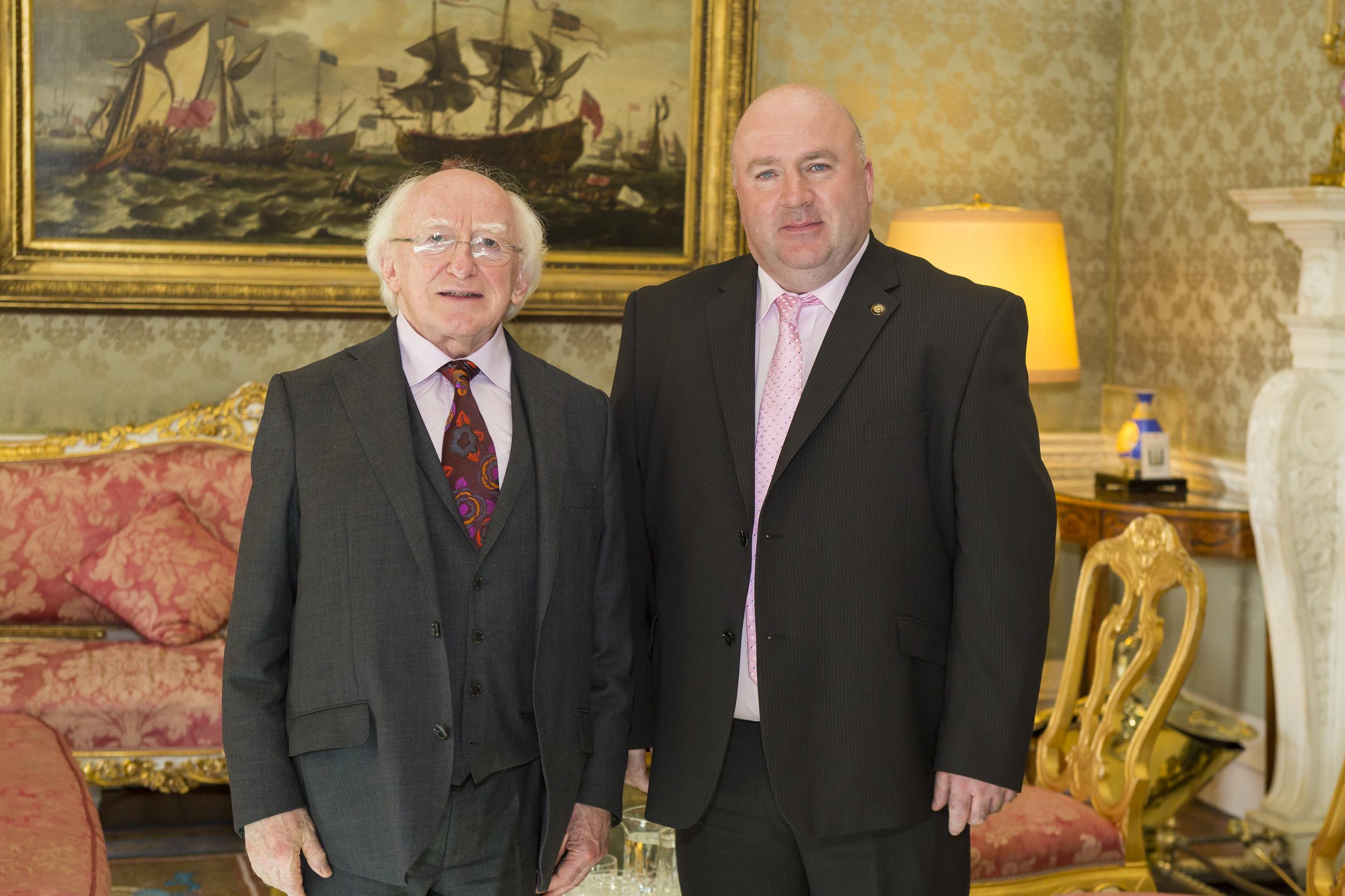 Dermot O'Donnell and President Michael D. Higgins