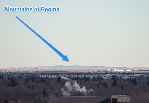 On this one, I cropped the shit out of the original zoomed photo, and put a helpful arrow, just so you don't miss the majestic Mountains of Regina. Sunday Feb. 7, 2016.