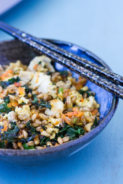 FARRO STIR FRY WITH CHICKEN AND VEGETABLES