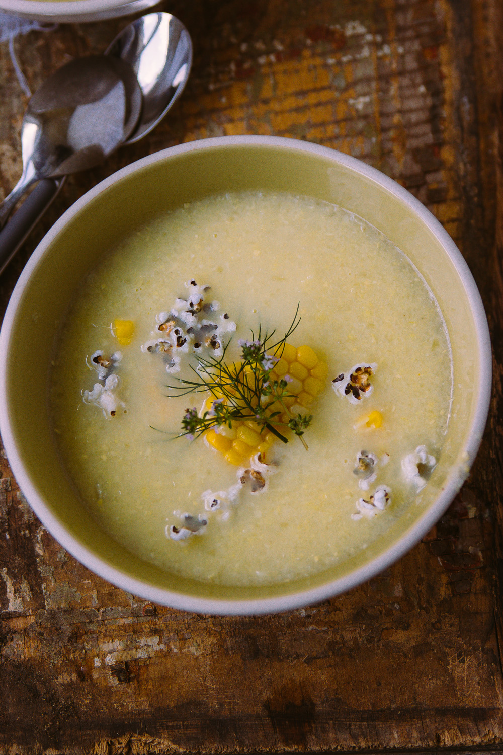 CHILLED CORN SOUP WITH POPCORN