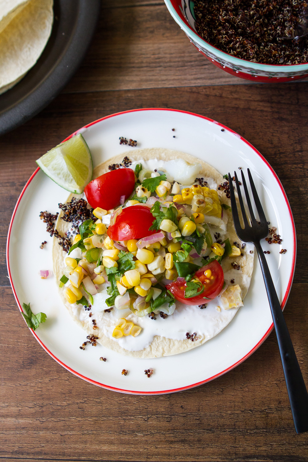 FISH TACOS WITH BLACK QUINOA AND SWEET CORN SALSA