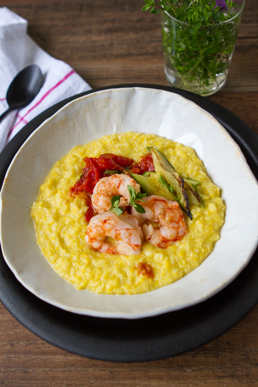 FRESH CORN POLENTA WITH GRILLED SHRIMP, ZUCCHINI, AND ROASTED TOMATOES