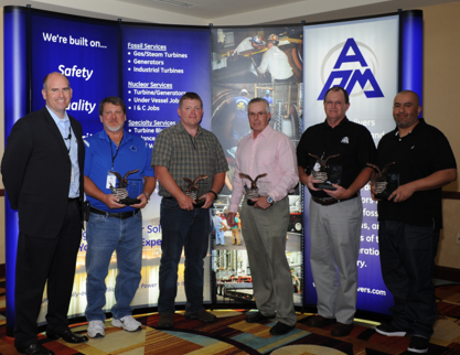 Left to Right: Jake Locklear APM + APCom President CEO and APM Superintendents Sam Freeman (S), Wes Heck (Canada), Rich Hagar (N), Greg Gibbs (Nuclear), and Alejandro Blas (W).