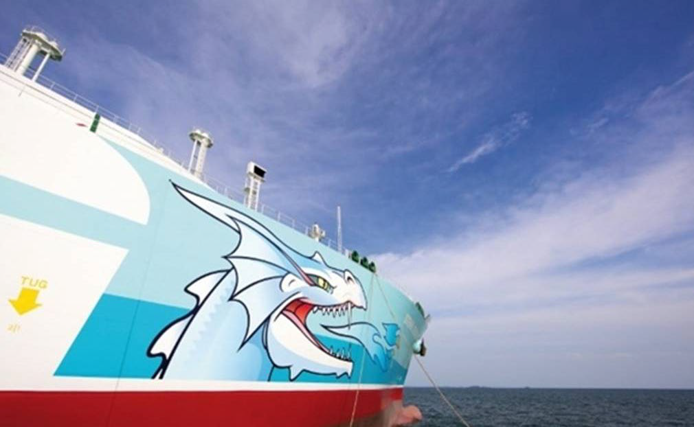 "The LNG tanker, The Stena Clear Sky, is 977 feet in length with a 109,949 gross tonnage. On the port and starboard sides of the ship there is a dragon. The inscription on the side reads: ""Gas should always travel first class."""