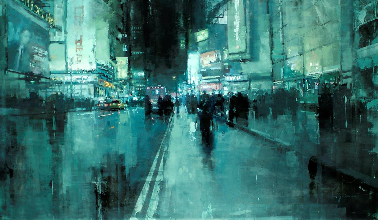 7th Avenue Night - 35 x 60 inches - Oil on Panel - 1/2013
