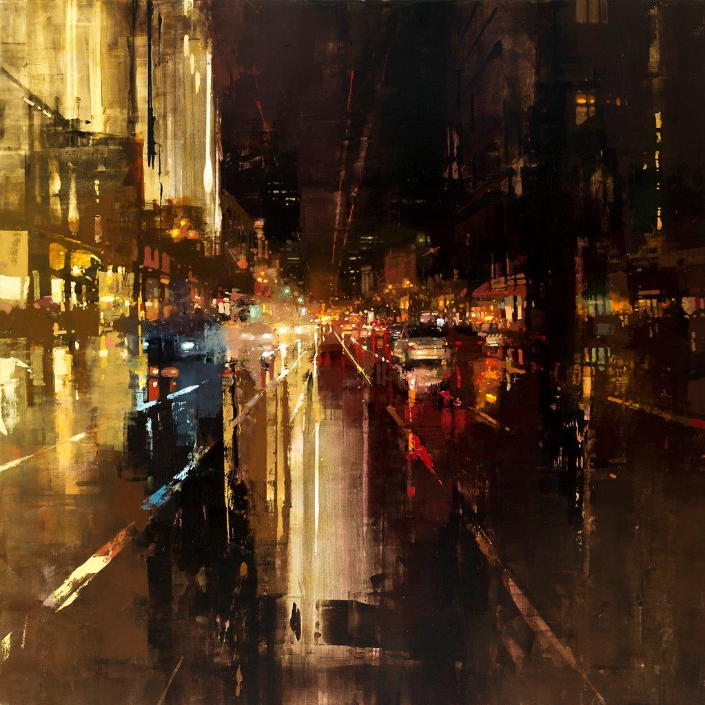 Evening Rains Downtown - 48 x 48 inches - Oil on Panel - 8/2011
