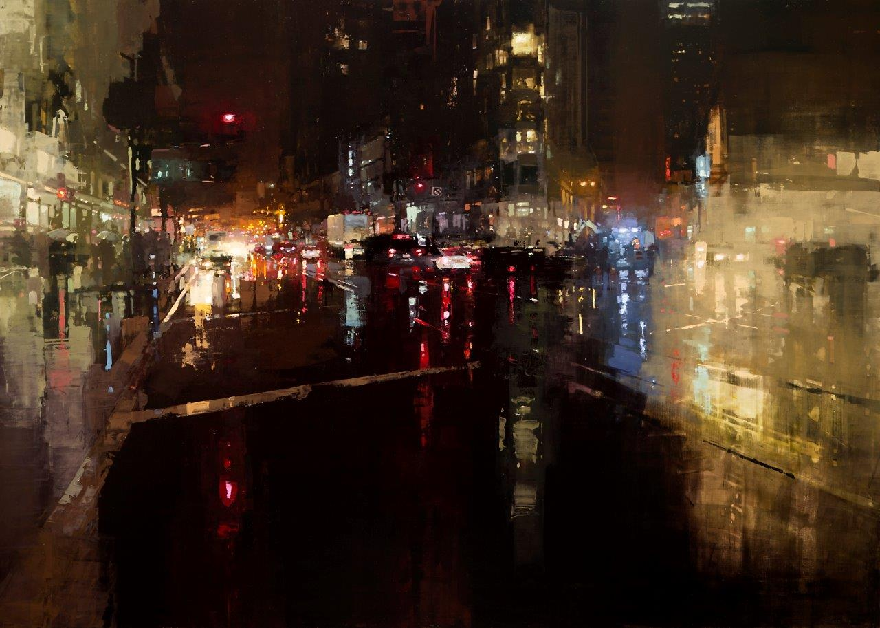 Evening Storm on Market St. - 60 x 43 inches - Oil on Panel - 11/2014