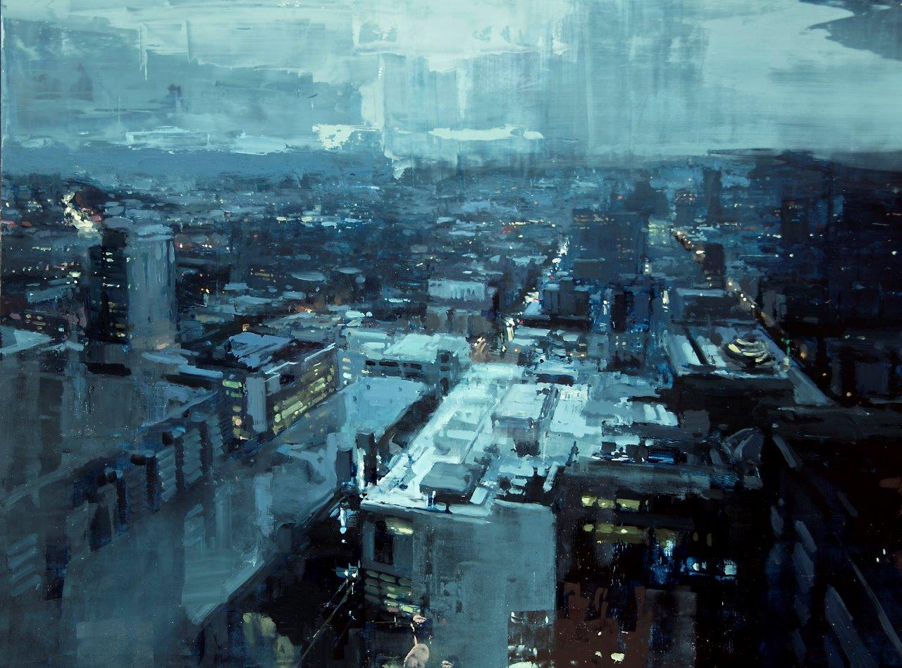 Within the Storm above the City - 18 x 24 inches - Oil on Panel - 1/2015