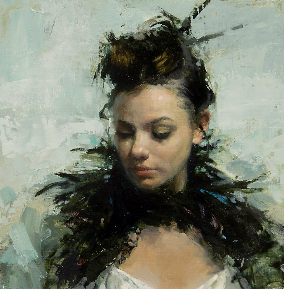Portrait with Lace and Feathers - 12 x 12 inches - Oil on Panel - 6/2012