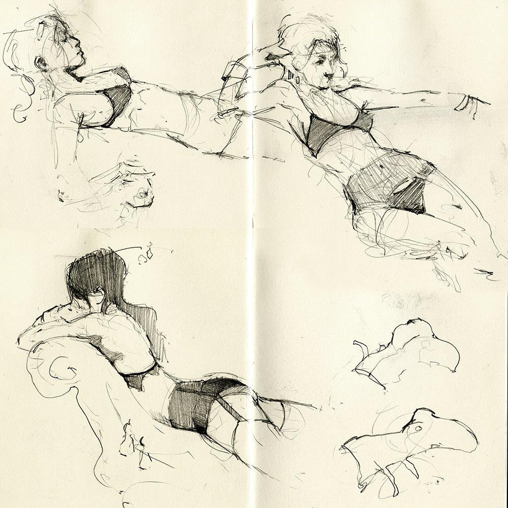 Sketchbook Excerpt (Life Drawing) - Graphite on Moleskine