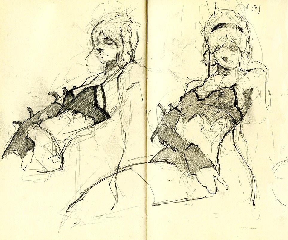 Sketchbook Excerpt (Life Drawing)- Graphite on Moleskine