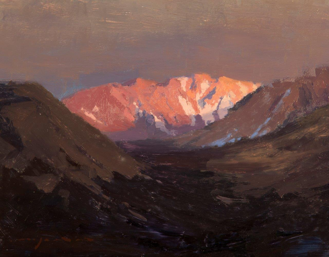 The Evening Alpenglow - 8 x 10 inches - Oil on Panel - 6/2016