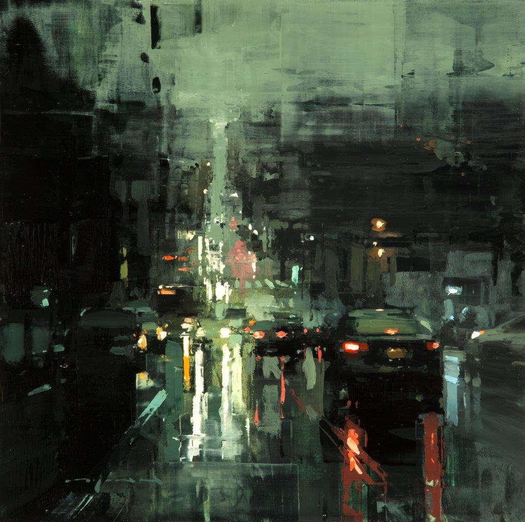 Castro Downpour (Version 2) - 12 x 12 inches - Oil on Panel - Mar-17