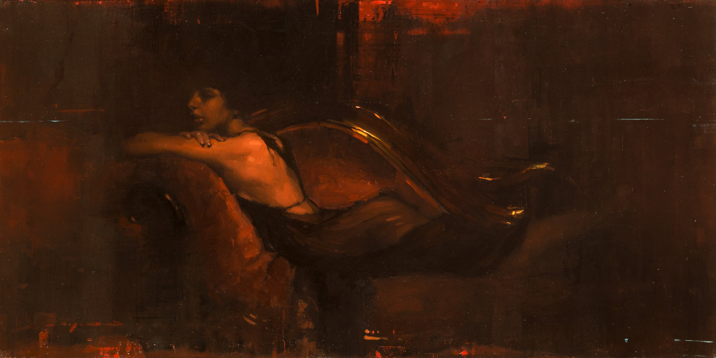 Repose in Red - 13 x 24 inches - Oil on Panel - Oct-16