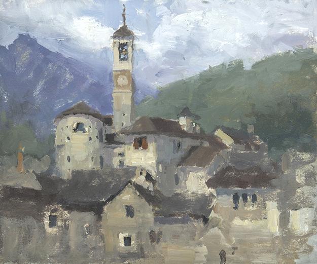 """""""Behind the Chiesa di Santa Maria degli Angeli, Lavertezzo, Switzerland (Plein Air)"""" - 4 x 5 in. - Oil on Panel"""