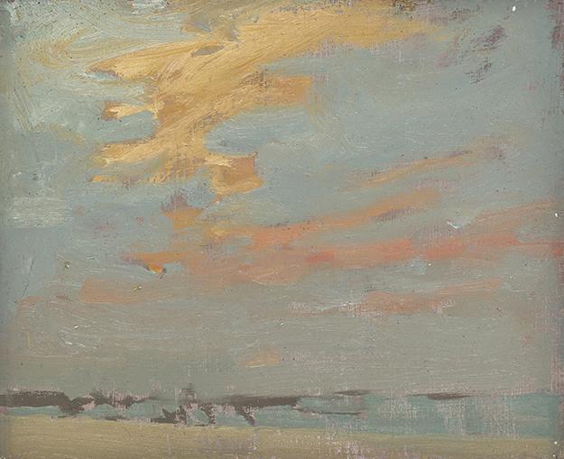 """Evenings on Barcelona Beaches #4, Spain (Plein Air)"" - 4 x 5 in. - Oil on Panel"