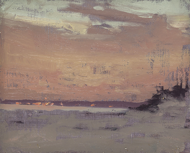 """Long Island Sunset, New York (Plein Air)"" - 4 x 5 in. - Oil on Panel"