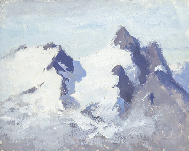 """On the Titlis, Switzerland (Plein Air)"" - 4 x 5 in. - Oil on Panel"