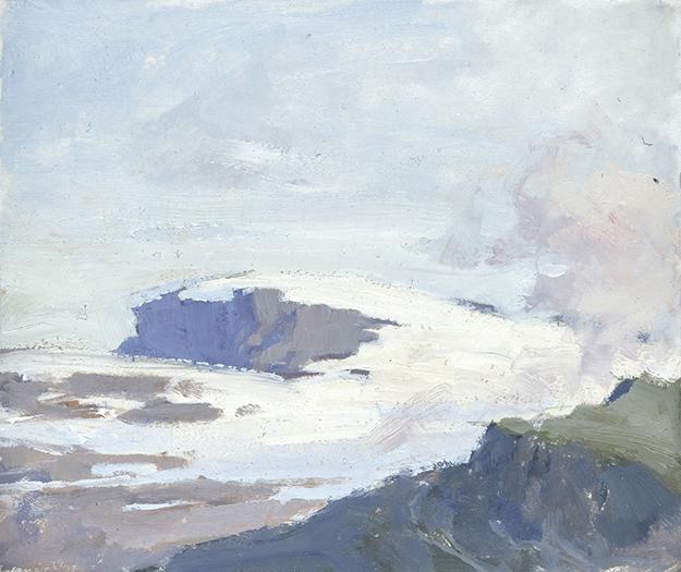 """The Titlis Glacier, Switzerland (Plein Air)"" - 4 x 5 in. - Oil on Panel"