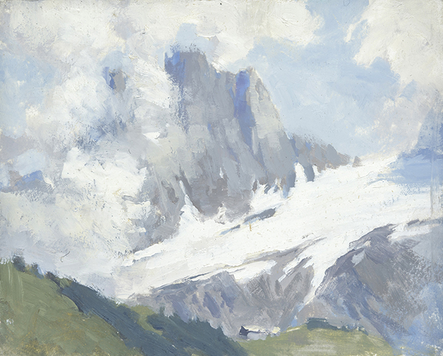 """The View from Engelberg, Switzerland (Plein Air)"" - 4 x 5 in. - Oil on Panel"