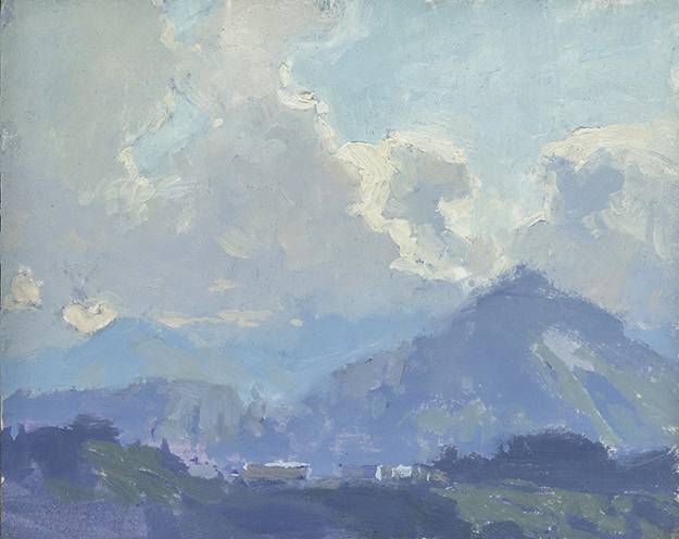 """View Across Lake Lucerne #2, Switzerland (Plein Air)"" - 4 x 5 in. - Oil on Panel"