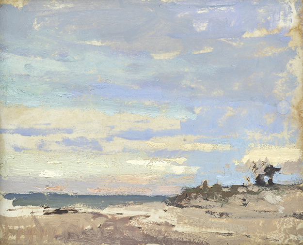 """Long Island sunset, New York (Plein Air) (2)"" - 4 x 5 in. - Oil on Panel"